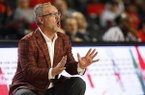 Arkansas coach Mike Neighbors reacts during an NCAA college basketball game against Georgia in Athens, Ga., Thursday, Feb. 21, 2019. (Joshua L. Jones/Athens Banner-Herald via AP)