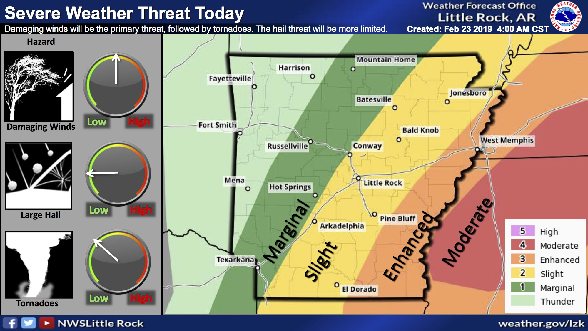 Forecasters: Chance for heavy winds, tornadoes, flooding today in parts of Arkansas | Arkansas Democrat-Gazette
