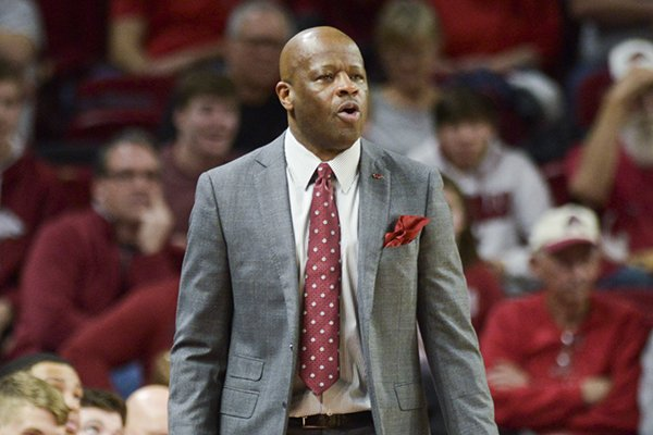 Arkansas Razorbacks head coach Mike Anderson watches his players during a basketball game, Saturday, Feb. 23, 2019, at Bud Walton Arena in Fayetteville.