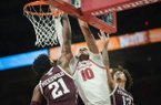Arkansas Razorbacks forward Daniel Gafford (10) dunks during a basketball game, Saturday, February 23, 2019 at Bud Walton Arena in Fayetteville.