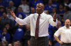Arkansas coach Mike Anderson reacts to a call during the second half of the team's NCAA college basketball game against Kentucky in Lexington, Ky., Tuesday, Feb. 26, 2019. Kentucky won 70-66. (AP Photo/James Crisp)