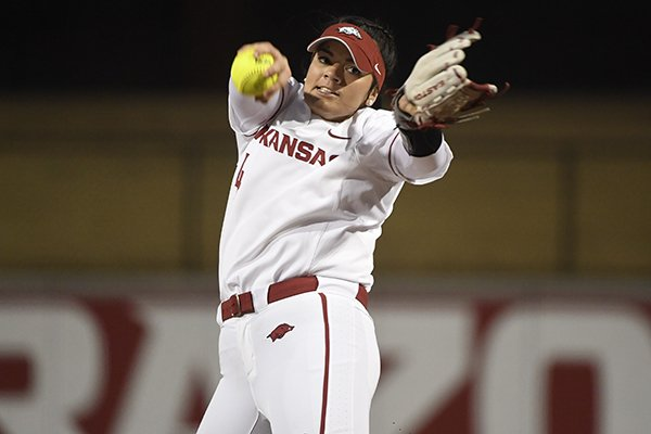 Arkansas pitcher Mary Haff throws a pitch against SEMO during an NCAA softball game on Friday Feb. 22, 2019 in Fayetteville. (AP Photo/Michael Woods)