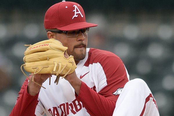 Arkansas starter Isaiah Campbell delivers to the plate against Stony Brook Friday, March 1, 2019, during the second inning of the first game of a doubleheader at Baum-Walker Stadium in Fayetteville.