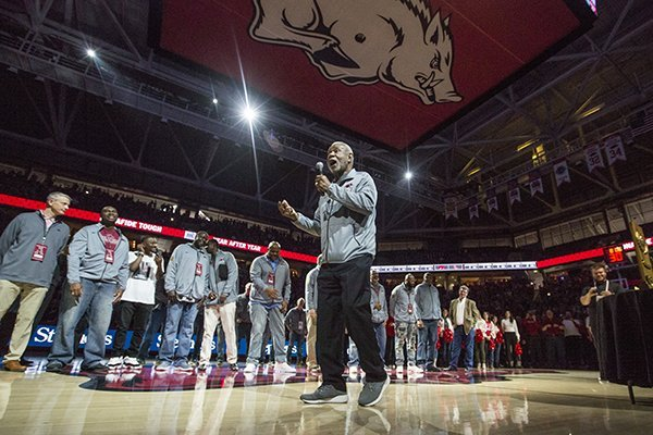 Former Arkansas coach Nolan Richardson talks to the crowd during a reunion of the 1994 Razorbacks basketball national championship team on Saturday, March 2, 2019, in Fayetteville.