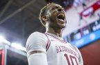 Arkansas forward Daniel Gafford celebrates following the Razorbacks' 74-73 win over Ole Miss on Saturday, March 2, 2019, in Fayetteville.