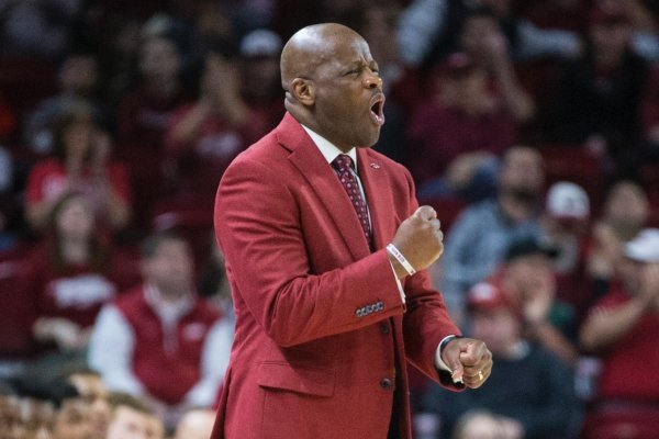 Mike Anderson, Arkansas head coach, shouts during the first half vs Ole Miss Saturday, March 2, 2019, during the game in Bud Walton Arena in Fayetteville.