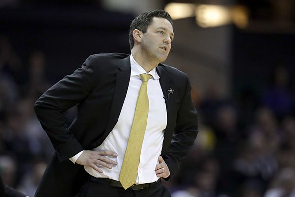 Vanderbilt head coach Bryce Drew watches the action in the first half of an NCAA college basketball game against Florida Wednesday, Feb. 27, 2019, in Nashville, Tenn. (AP Photo/Mark Humphrey)
