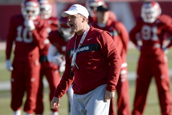 Arkansas coach Chad Morris directs his players Tuesday, March 5, 2019, during practice at the university practice facility on campus in Fayetteville. Visit nwadg.com/photos to see more photographs from practice.