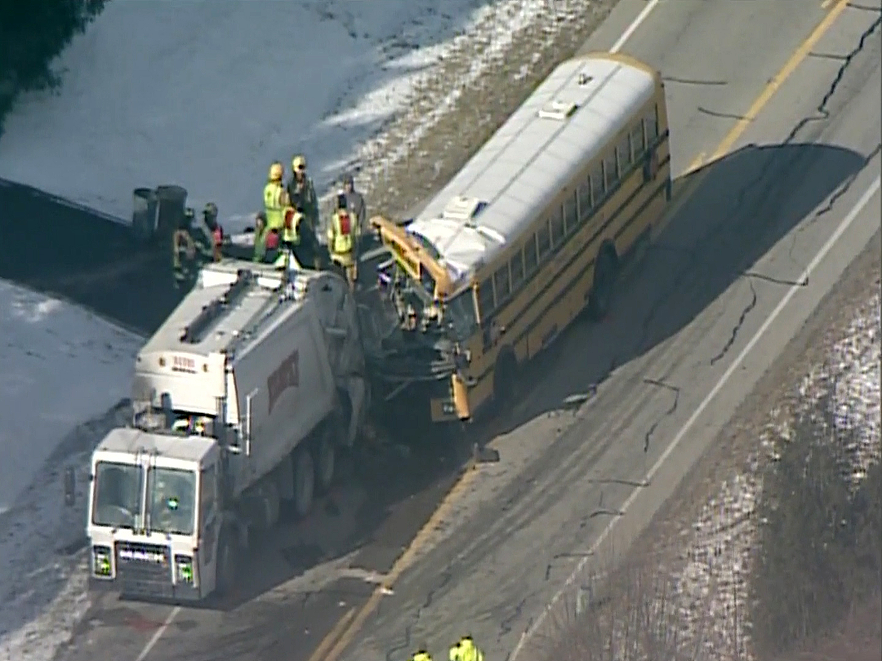 Officials: School bus crash in Indiana injures at least 19