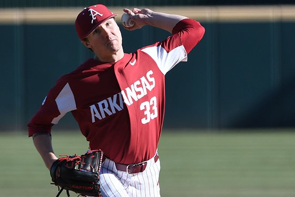Arkansas pitcher Patrick Wicklander throws during a game against Charlotte on Wednesday, March 6, 2019, in Fayetteville.