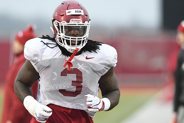 Arkansas defensive lineman McTelvin Agim is shown during practice Thursday, March 7, 2019, in Fayetteville.