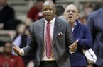 Arkansas coach Mike Anderson questions call during the second half of the team's NCAA college basketball game against Vanderbilt on Wednesday, March 6, 2019, in Nashville, Tenn. Arkansas won 84-48. (AP Photo/Mark Humphrey)