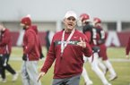 Arkansas coach Chad Morris is shown during practice Thursday, March 7, 2019, in Fayetteville.