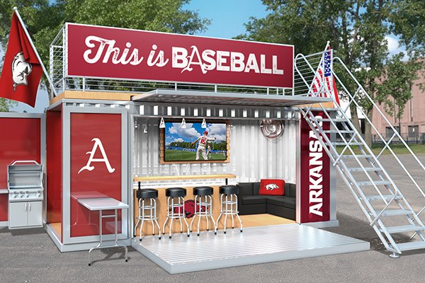 An illustration shows a box seating concept that will be available at Baum-Walker Stadium beginning with the March 15-17 series against Missouri.