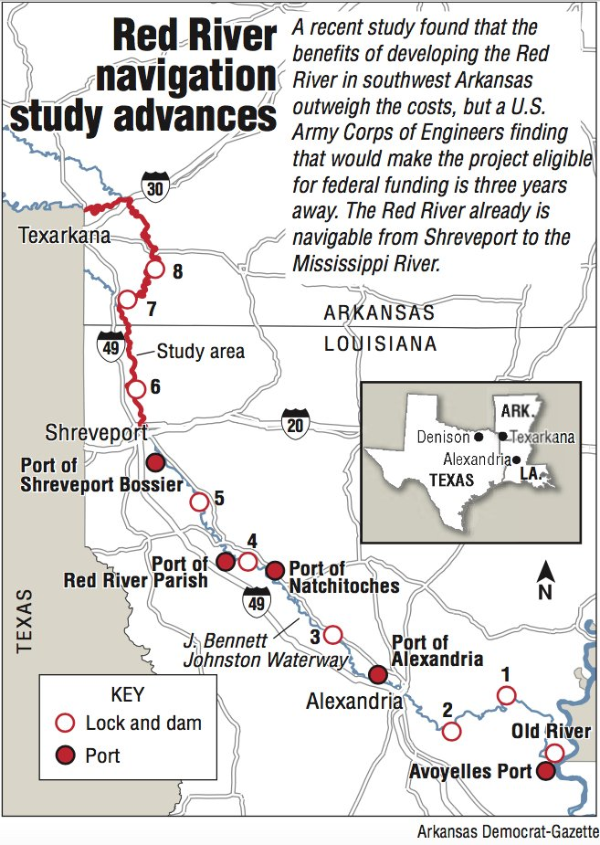 Little Red River Arkansas Map.Barges On Red Found Feasible