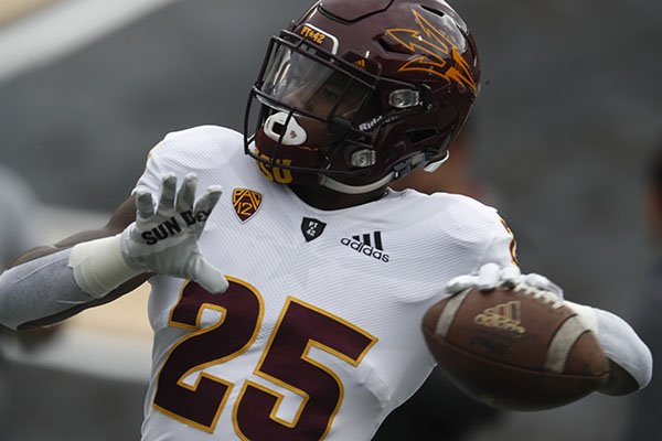 Arizona State Sun Devils running back Trelon Smith (25) in the first half of an NCAA college football game Saturday, Oct. 6, 2018, in Boulder, Colo. (AP Photo/David Zalubowski)