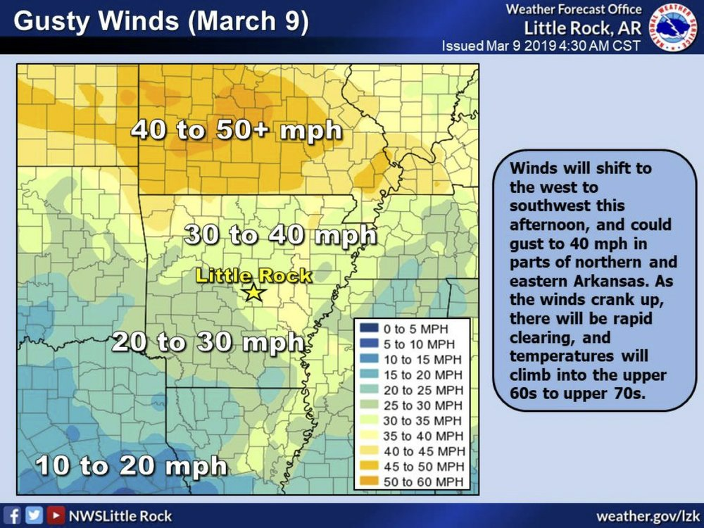 The threat of gusty winds on Saturday, most prominently in the south and east parts of Arkansas, are shown in this National Weather Service graphic.