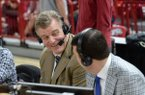 Arkansas letterman and broadcaster Joe Kleine joins the television broadcast crew for the Arkansas-Alabama game Saturday, March 9, 2019, in Bud Walton Arena in Fayetteville. Visit nwadg.com/photos to see more photographs from the game.
