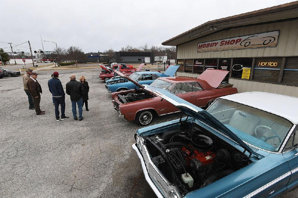 NWA Democrat-Gazette/J.T. WAMPLER Classic cars are on display Sunday March 10, 2019 at Kelsey's Hobby Shop Auto Repair in Fayetteville. Friends of Dave Kelsey organized the benefit classic car show to raise money for medical expenses for Kelsey.