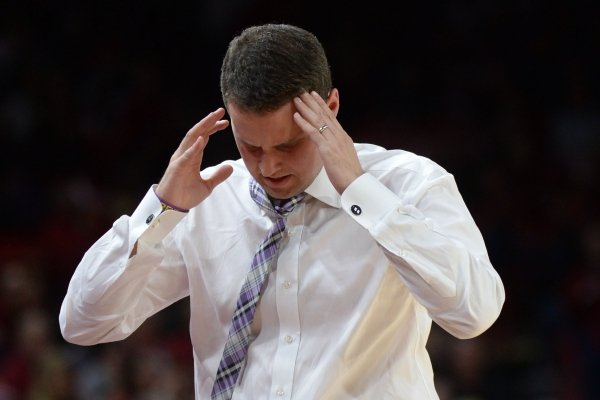 LSU coach Will Wade reacts to a foul call during play against Arkansas Friday, Jan. 11, 2019, during the first half of play in Bud Walton Arena in Fayetteville. Visit nwadg.com/photos to see more photographs from the game.