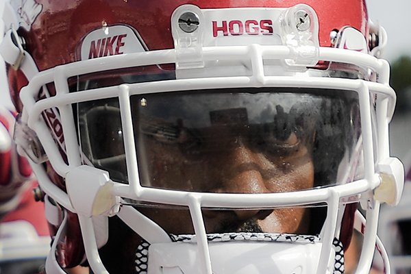 Arkansas defensive back Jarques McClellion prepares for a game against Alabama on Saturday, Oct. 6, 2018, in Fayetteville.