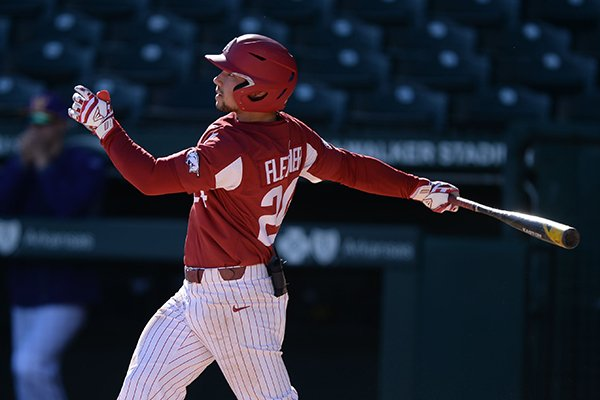 Arkansas center fielder Dominic Fletcher bats during a game against Western Illinois on Wednesday, March 13, 2019, in Fayetteville.