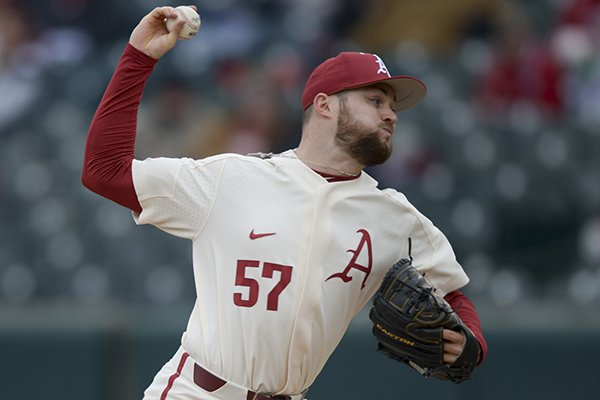 Arkansas pitcher Cody Scroggins throws during a game against Louisiana Tech on Sunday, March 10, 2019, in Fayetteville.