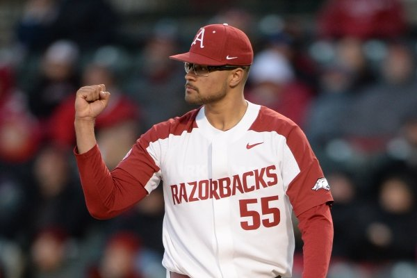 Arkansas starter Isaiah Campbell reacts to the final Missouri out Friday, March 15, 2019, during the third inning at Baum-Walker Stadium in Fayetteville. Visit nwadg.com/photos to see more photographs from the game.