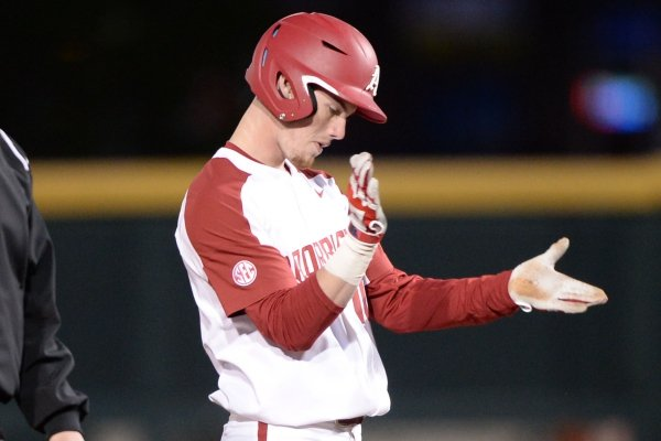 Arkansas Missouri Friday, March 15, 2019, during the inning at Baum-Walker Stadium in Fayetteville. Visit nwadg.com/photos to see more photographs from the game.