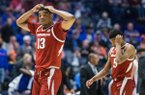Mason Jones (13) and Jalen Harris, Arkansas guards, react in the second half vs Florida Thursday, March 14, 2019, during the second round game in the SEC Tournament at Bridgestone Arena in Nashville.