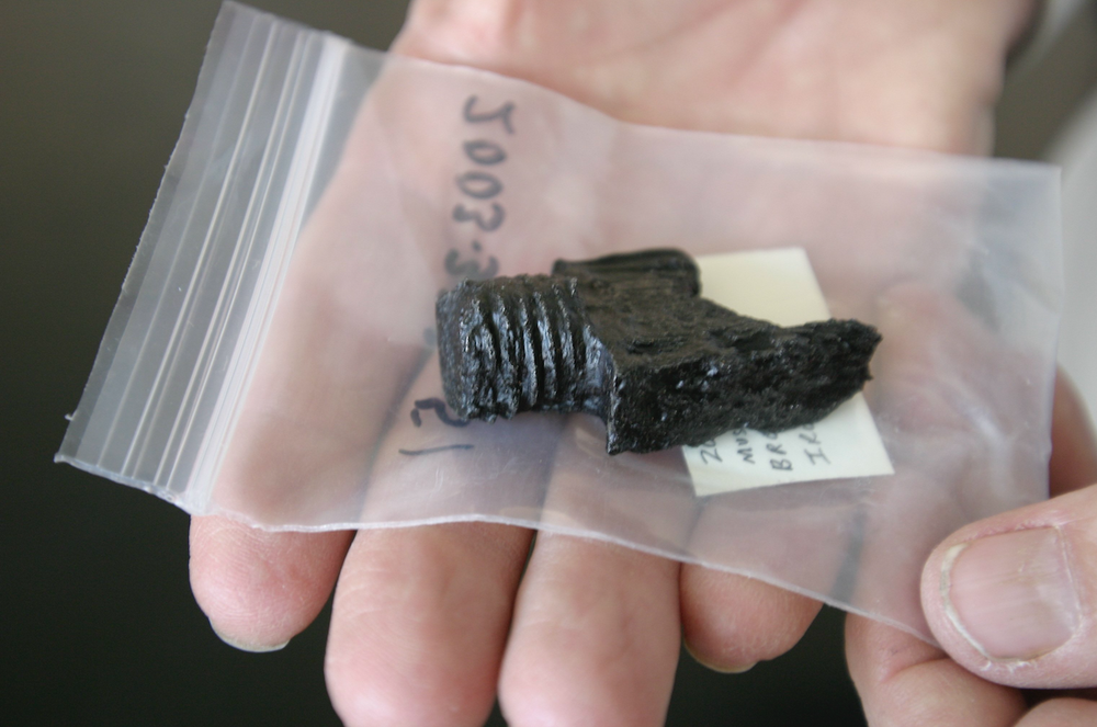 The iron breech plug from a French musket was found at the Quapaw village of Osotouy dig site. The same village was occupied by the French during the 1700s. (Special to the Democrat-Gazette/DEBORAH HORN)