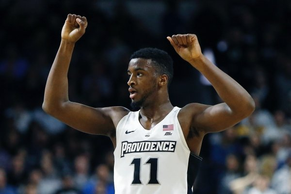 Providence's Alpha Diallo reacts during the first half of an NCAA college basketball game against Marquette in Providence, R.I., Saturday, Feb. 23, 2019. (AP Photo/Michael Dwyer)