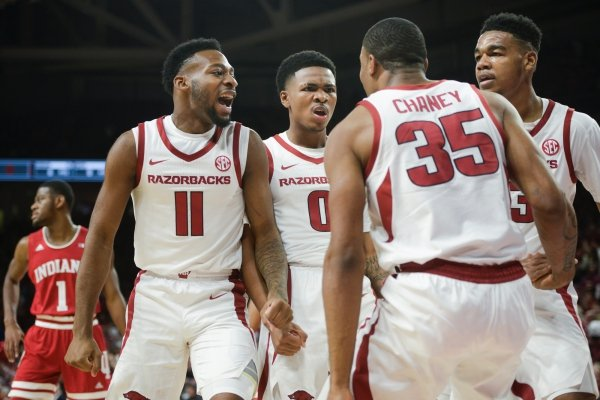 Arkansas Razorbacks players react during a basketball game, Sunday, November 18, 2018 at Bud Walton Arena in Fayetteville.