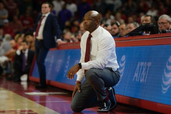 Arkansas Razorbacks head coach Mike Anderson watches a free throw during a basketball game, Sunday, November 18, 2018 at Bud Walton Arena in Fayetteville.