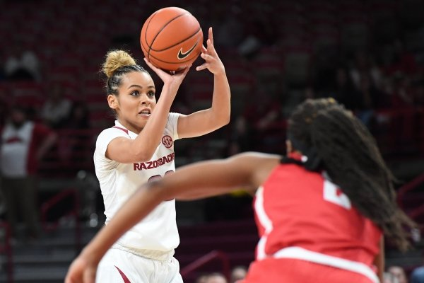 Image from Arkansas' 88-80 win over Houston Thursday March 21, 2019 at Bud Walton Arena in Fayetteville during the first round of the Women's National Invitational Tournament.