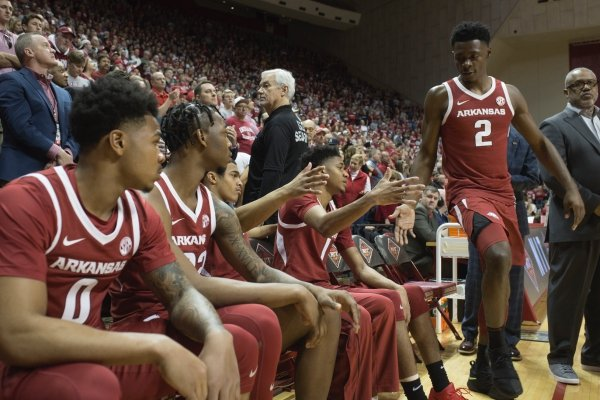 Arkansas Razorbacks players get ready to enter the court before the first half of the NCAA National Invitation Tournament, Saturday, March 23, 2019 at the Simon Skjodt Assembly Hall at the University of Indiana in Bloomington, Ind. The Arkansas Razorbacks fell to the Indiana Hoosiers 63-60.