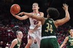 Arkansas' Bailey Zimmerman attempts a shot over UAB's Imani Johnson on Sunday, March 24, 2019, during the second round of the WNIT at Bud Walton Arena in Fayetteville.