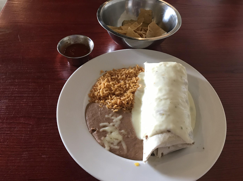 The California Burrito is a hefty portioned burrito that is stuffed with your choice of steak, chicken or ground beef.