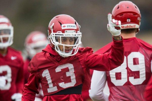 Deon Stewart, Arkansas wide receiver, drills Friday, March 1, 2019, during Arkansas spring practice in Fayetteville.