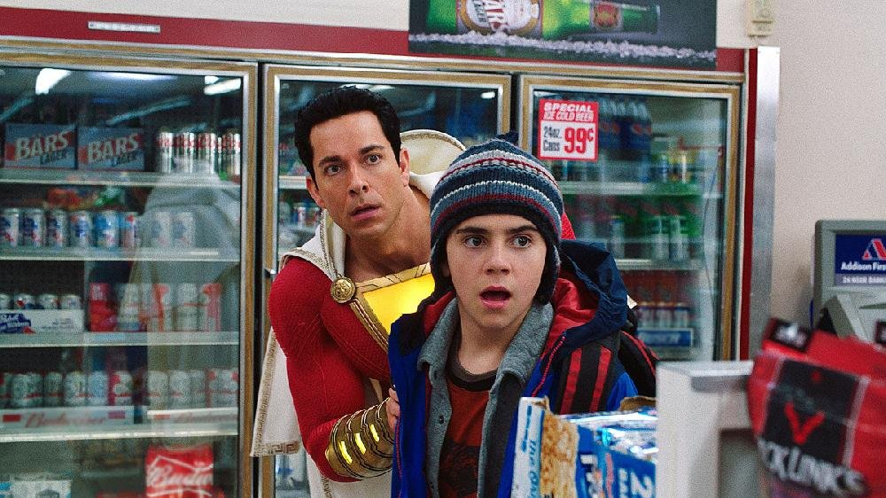 Freddy Freeman (Jack Dylan Grazer) and Shazam ( Zachary Levi) quickly figure out that one of the latter's newly acquired super powers is the ability to buy beer in the latest superhero movie from the DC universe.