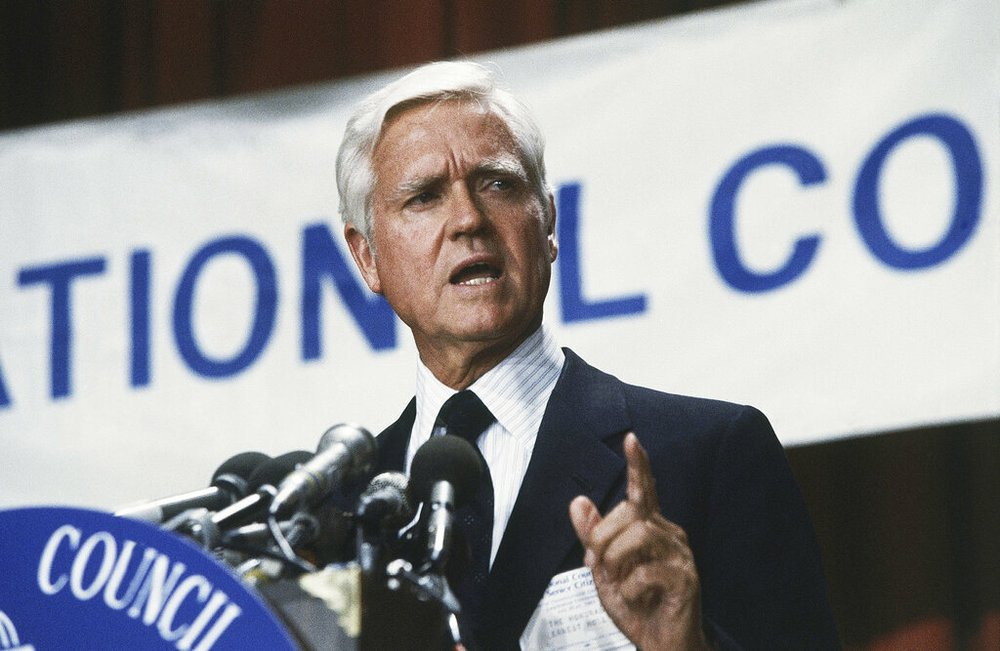 FILE - This July 20, 1983 file photo shows Senator Ernest F. Hollings (D-S.C.) in Washington, DC. Hollings, a moderate six-term Democrat who made an unsuccessful bid for the presidency in 1984, has died. He was 97. Family spokesman Andy Brack says Hollings died early Saturday, April 6, 2019.