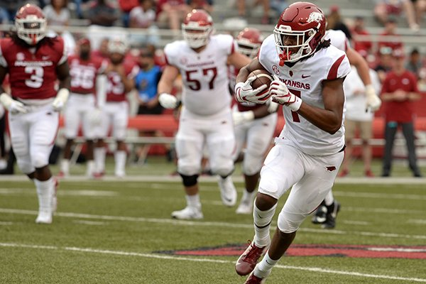Arkansas receiver Trey Knox carries the ball into the end zone Saturday, April 6, 2019, during the Razorbacks' spring game in Razorback Stadium in Fayetteville