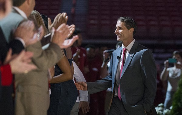 Arkansas basketball coach Eric Musselman is introduced during an event Monday, April 8, 2019, at Bud Walton Arena in Fayetteville.