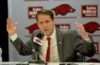 Arkansas basketball coach Eric Musselman speaks at his introductory news conference Monday, April 8, 2019, in Fayetteville.