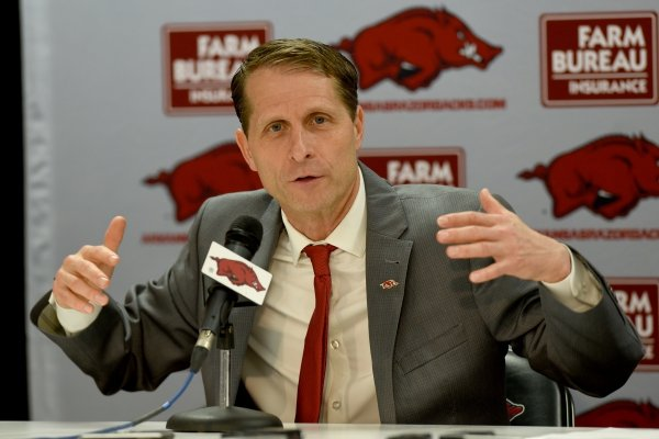 Eric Musselman speaks at a press conference after his introduction as the new head coach of men's basketball at the University of Arkansas by Athletic Director Hunter Yurachek Monday, April 8, 2019 in Bud Walton Arena on the campus in Fayetteville. During the previous four seasons, Musselman coached the University of Nevada in Reno to a 110-34 record.