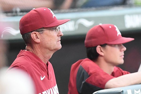 Arkansas coach Dave Van Horn watches from the dugout during a game against Oral Roberts on Tuesday, April 9, 2019, in Fayetteville.