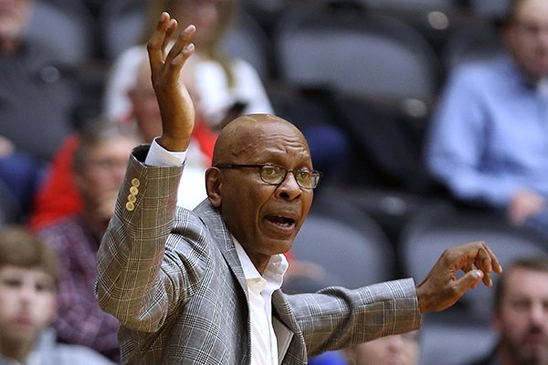 UALR head coach Darrell Walker calls a play during the second half of the Trojans' 77-73 loss on Saturday, Jan. 26, 2019, at the Jack Stephens Center in Little Rock.