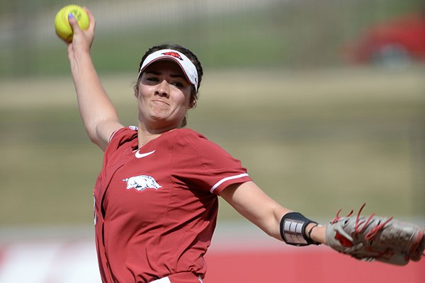 Arkansas starter Autumn Storms delivers to the plate Wednesday, April 10, 2019, against Wichita State during the first inning at Bogle Park in Fayetteville.