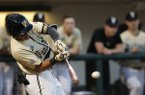 Vanderbilt's Austin Martin swings at a pitch from Georgia during a college baseball game Friday, April 5, 2019, in Athens, Ga. Vanderbilt won 3-2. (Joshua L. Jones/Athens Banner-Herald via AP)