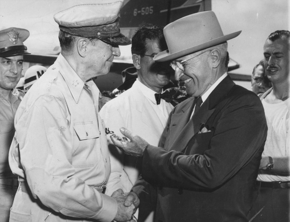 The firing of Gen. Douglas MacArthur (left) by President Harry Truman is part of the material covered by Douglas MacArthur's Conspiracy to Start a War with China, screening Tuesday at the MacArthur Museum of Arkansas Military History in Little Rock.